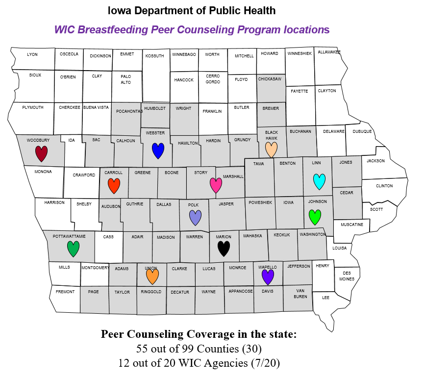 WIC Breastfeeding Peer Counseling Program Map 2021