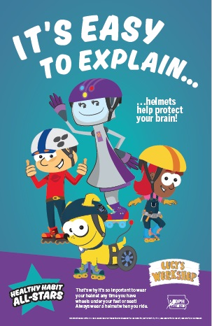 poster image it's easy to explain helmets help protect your brain