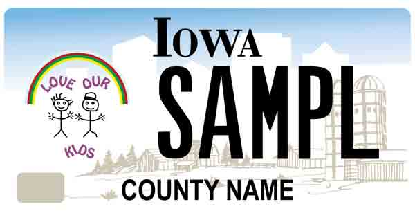 Love Our Kids specialty license plate sample image.