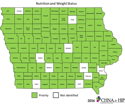 Iowa Map showing counties identifying Nutrition and Weight Status health issues.